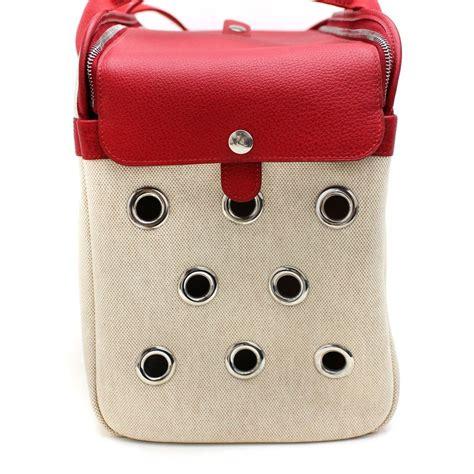hermes paris pet dog carrier bag case sac de transporte  stdibs