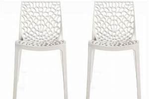 Chaise Design Blanche : lot de 2 chaises design blanches opaques filet design sur sofactory ~ Teatrodelosmanantiales.com Idées de Décoration