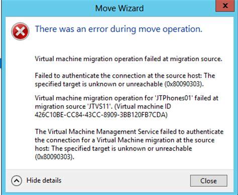 fix hyper v move error 0x80090303