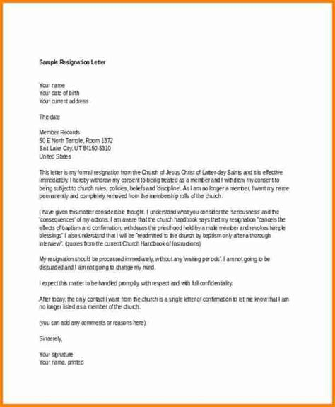 church resignation letter resign letter job