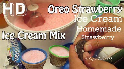 Mau tahu bagaimana cara membuat ice cream yang nikmat? Cara Membuat Es Krim Sendiri Cheap Homemade Haan Ice Cream Mix Strawberry Oreo #Kids ...