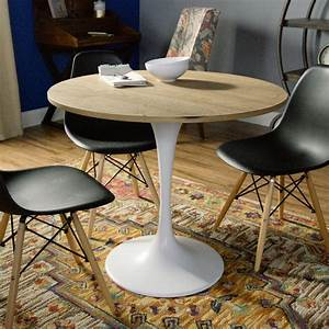 Wood and White Metal Leilani Tulip Dining Table World Market