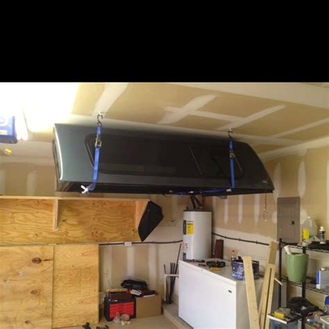 camper truck shell ceiling storing shells tv storage garage rack camping lift cap diy canopy needed kayak campers tonneau hide