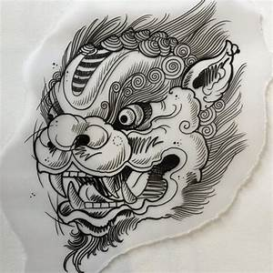 Beautiful outline chinese style foo dog tattoo design ...