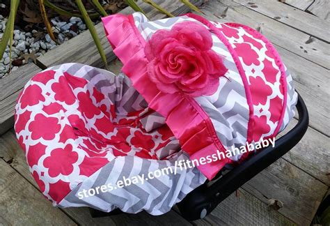 Baby Hot Pink Flower Infant Car Seat Cover Canopy Cover