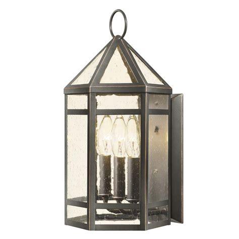 hton bay 3 light rubbed bronze outdoor wall lantern