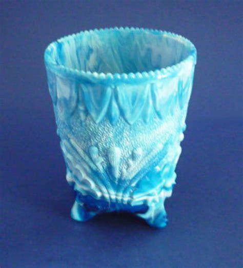large davidson  blue malachite slag glass shell  coral