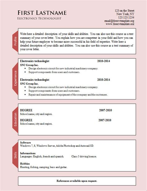 word cv resume templates 954 to 960 free cv template
