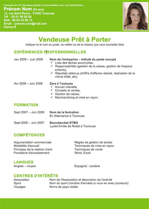 Exemple De Curriculum Vitae 2015 by Resume Format Curriculum Vitae Exemple Gratuit Open Office
