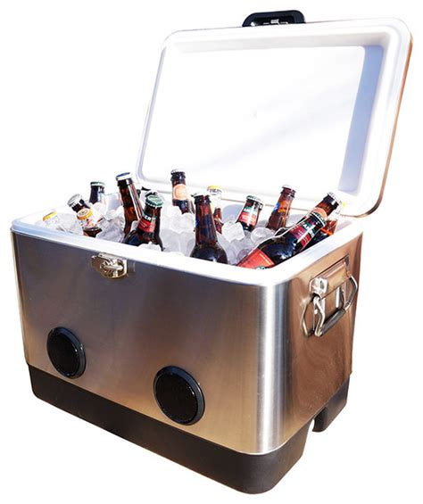 54qt stainless steel cooler with bluetooth speakers