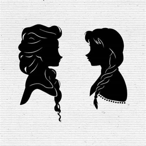 Also you can search for other artwork with our tools. Frozen Sisters Elsa and Anna Disney Silhouette SVG Cut File