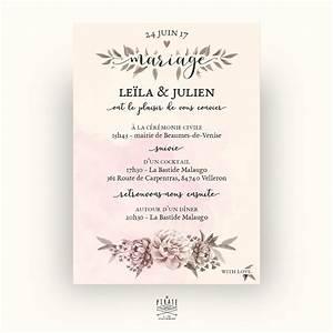 faire part mariage vintage romance aquarelle la pirate With affiche chambre bébé avec faire part fleur mariage