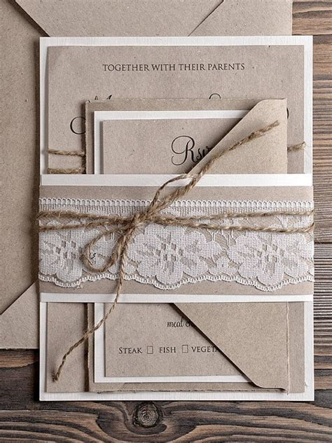 Natural recycling paper Wedding Invitation Country Style
