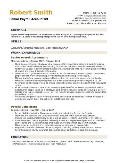Payroll Resume by Payroll Accountant Resume Ipasphoto