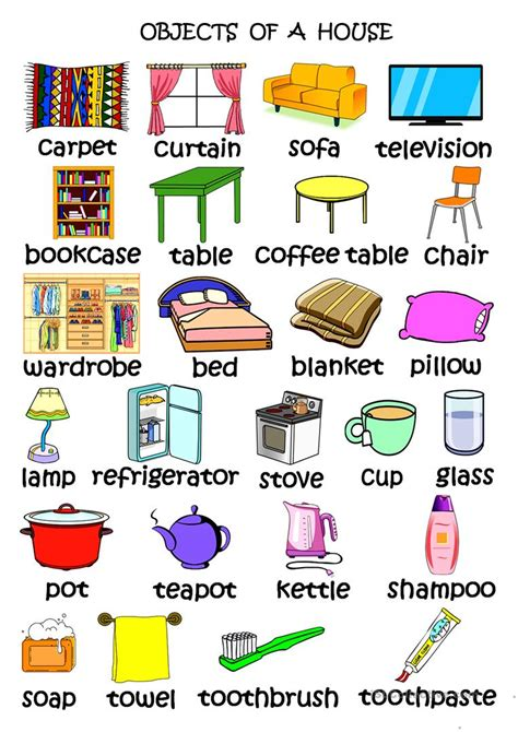 objects   house english esl worksheets  distance