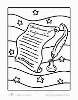 Declaration Independence Coloring Pages Worksheets Worksheet History Education 4th July Studies Social Grade Sheets Revolution Holiday Constitution Sheet Fun Young sketch template