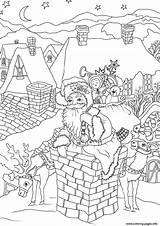 Coloring Santa Claus Chimney Presents Down Printable Fireplace Entering Via Come Drawing Cool Cookies Getcolorings Merry Everything sketch template