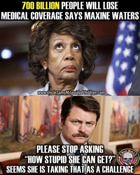 Maxine Waters Memes - maxine waters taking stupid as a challenge