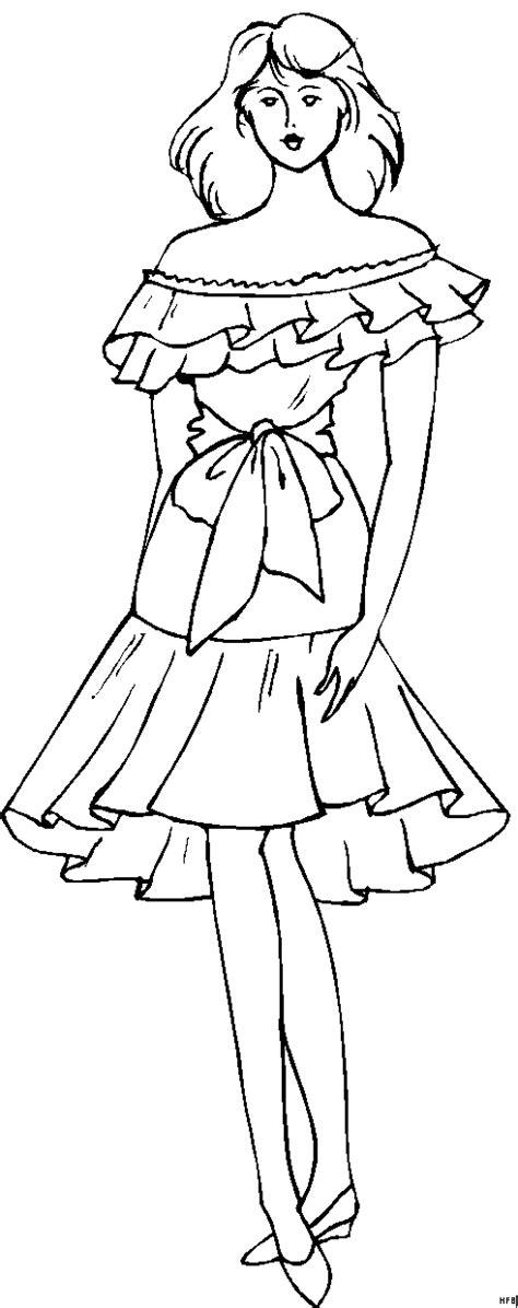 maedchen mit kurzem kleid ausmalbild malvorlage mode