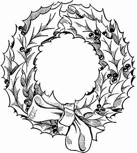 Vintage Christmas Wreath Graphic - The Graphics Fairy