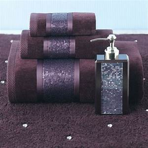 Croscill sequin shimmer eggplant bath collection remodel for Sequin bathroom sets