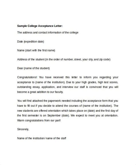 college acceptance letter sample template college