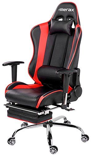 merax ergonomic series pu leather office chair racing chair with footrest computer gaming chair