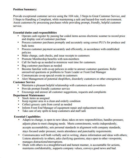Cashier Description For Resume by Sle Cashier Resume 5 Documents In Pdf