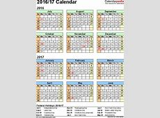 Split year calendar 201617 July to June PDF templates