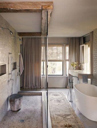 Modern Rustic Bathroom Tile by Rustic Modern Bathroom Freestanding Tub Reclaimed Beams