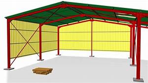 Steel Structure Assembly - With Walls And Canopy
