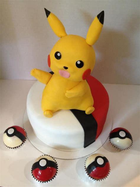 pikachu cake with edible chocolate pokeball cupcakes my cakes