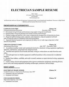Electrician resume samples sample resumes for Electrician resume template