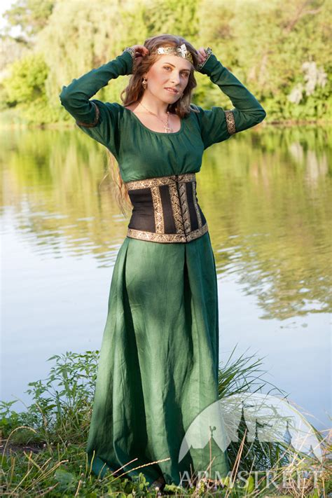 medieval fantasy natural flax linen dress  wide bodice