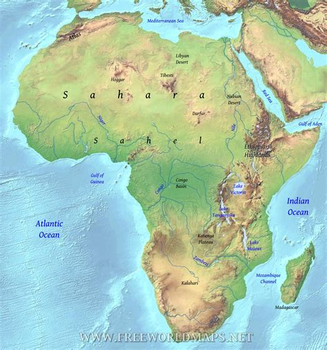 africa south   sahara physical map  travel