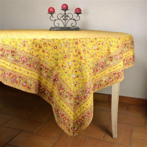 nappe de cuisine nappe carrée provençale jaune motif chêtre nappe 100 coton fabrication française