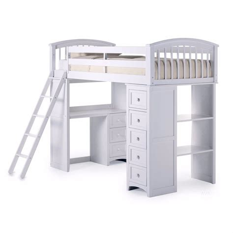 bed with desk and storage student loft bed frame with desk kids teens storage bunk