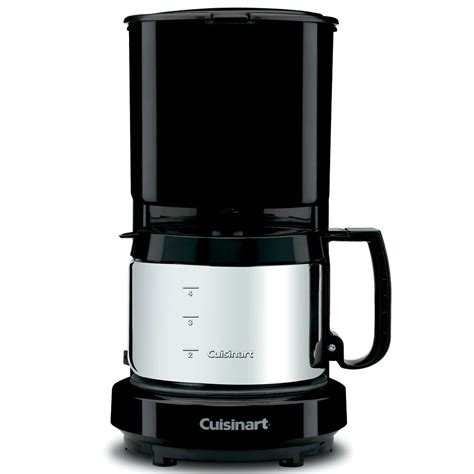 It features a stainless steel carafe with a dripless pour spout and knuckle guard, and a brew pause feature that. Cuisinart® WCM08B 4-Cup Coffee Maker w/ Stainless Steel Carafe Black 4 Per Case Price Per Each
