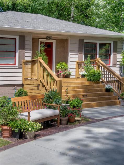 neutral home exterior  wooden deck  bench hgtv