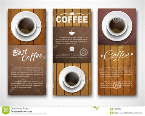 Design Coffee Banners With A Cup Of Coffee. Stock Vector Hot Coffee Alcoholic Beverages Espresso Recipes Nutrients Community Smoothie Price And Sore Throat Banana