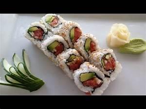 Sushi spicy tuna roll recipe - YouTube
