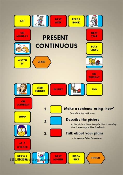 present continuous a boardgame teaching tips
