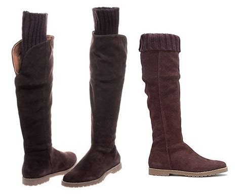 Suede Knee High Sweater Boots