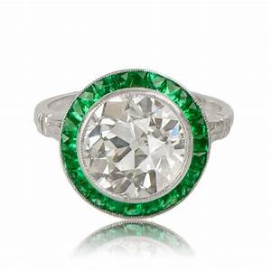 Diamond engagement ring with emerald halo estate diamond for Emerald and diamond wedding ring