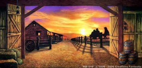 western backdrop sunset barn western backdrops