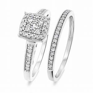 3 8 ct tw round cut diamond ladies bridal wedding ring With ladies wedding ring sets