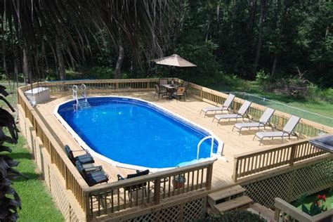 backyard above ground pools with oval shaped also wooden