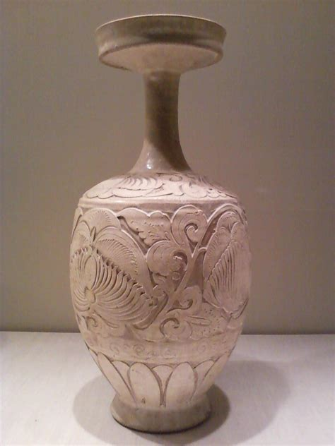 Carved Vase by Vase With Carved Peony Scrolls
