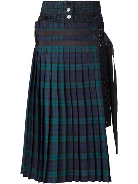 sacai plaid pleated skirt  blue lyst