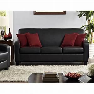 mainstays faux leather sofa black walmartcom With faux leather sofa bed walmart